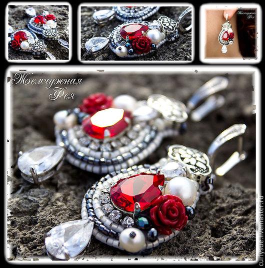 """Серьги ручной работы. Ярмарка Мастеров - ручная работа. Купить Серьги по мотивам Dolce & Gabbana  """" Burning rose """". Handmade."""