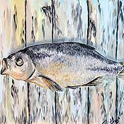 Картины ручной работы. Ярмарка Мастеров - ручная работа Картины: Рыба, масло на холсте, 40х40, поп арт, оригинал. Handmade.