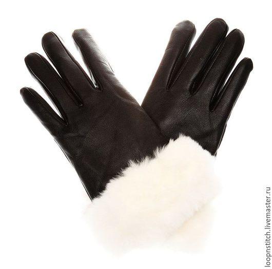 Варежки, митенки, перчатки ручной работы. Ярмарка Мастеров - ручная работа. Купить Кожаные перчатки черный. Handmade. Перчатки