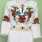 Одежда handmade. Livemaster - original item Embroidered dress, workpiece for sewing. Handmade.