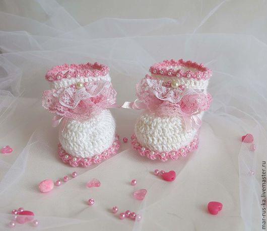 Для новорожденных, ручной работы. Ярмарка Мастеров - ручная работа. Купить Туфельки для маленькой принцессы 7. Handmade. Белый
