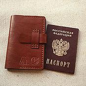 Канцелярские товары ручной работы. Ярмарка Мастеров - ручная работа Кожаная обложка для паспорта. Handmade.