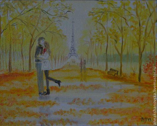 """Город ручной работы. Ярмарка Мастеров - ручная работа. Купить Картина """"Любовь"""". Handmade. Пейзаж, лес, осень, прогулка в лесу"""