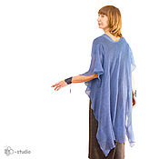 Одежда handmade. Livemaster - original item Knitted tunic Marina linen Boho Cape for women. Handmade.