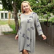 """Одежда ручной работы. Ярмарка Мастеров - ручная работа Летнее нарядное платье """"Цветы и листья"""" серый хлопок. Handmade."""