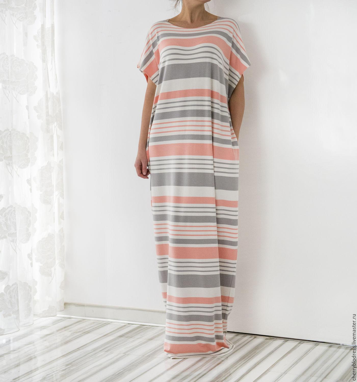 Полосатое летнее платье купить в