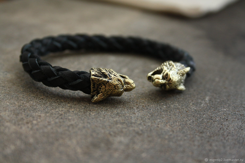 Bracelets Handmade Livemaster Leather Bracelet Lynx