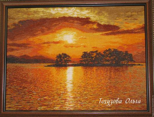 """Пейзаж ручной работы. Ярмарка Мастеров - ручная работа. Купить картина ручной вышивки """" Закат"""". Handmade. Оранжевый"""