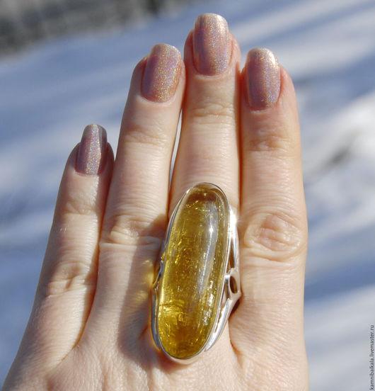 Кольца ручной работы. Ярмарка Мастеров - ручная работа. Купить Большое кольцо с гелиодором (С2). Handmade. Желтый, кольцо с гелиодором