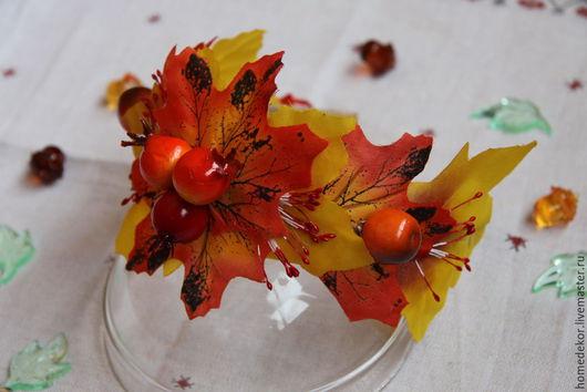 Диадемы, обручи ручной работы. Ярмарка Мастеров - ручная работа. Купить Ободок для волос Осенний (Боярышник). Handmade. Рыжий