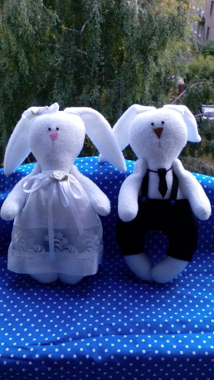 Подарки для влюбленных ручной работы. Ярмарка Мастеров - ручная работа. Купить Свадебные зайцы. Handmade. Свадьба, флисовая игрушка, хлопок