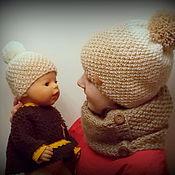 Работы для детей, ручной работы. Ярмарка Мастеров - ручная работа Шапочка вязаная для девочки и ее куклы. Handmade.