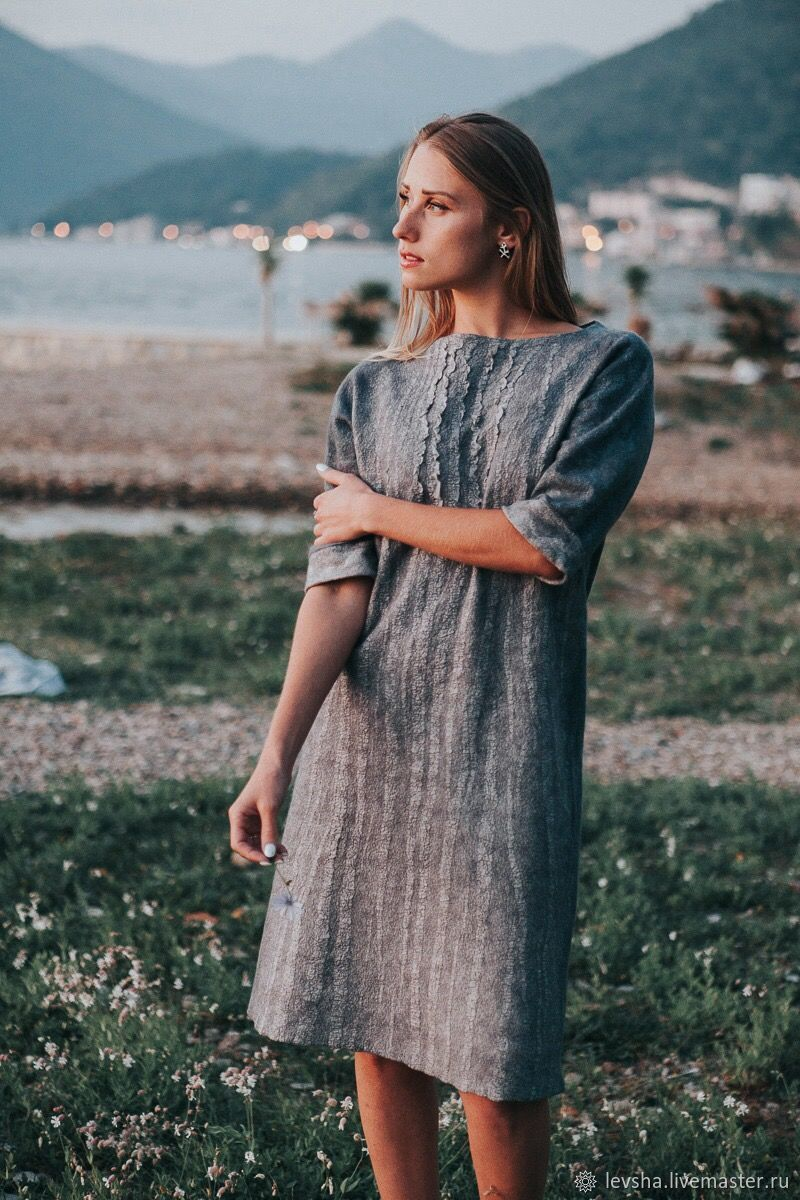 Felted dress wool and silk. Casual dress felted. Grey felted dress. Woolen dress to order 7-14 days. Dress handmade felted Merino wool and silk