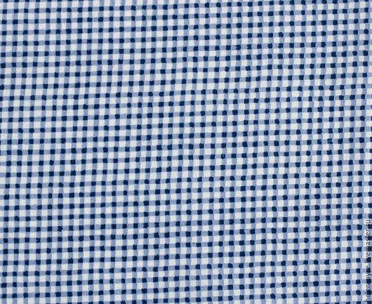 Шитье ручной работы. Ярмарка Мастеров - ручная работа. Купить Ткань Хлопок Мелкая клетка синяя. Handmade. Хлопок