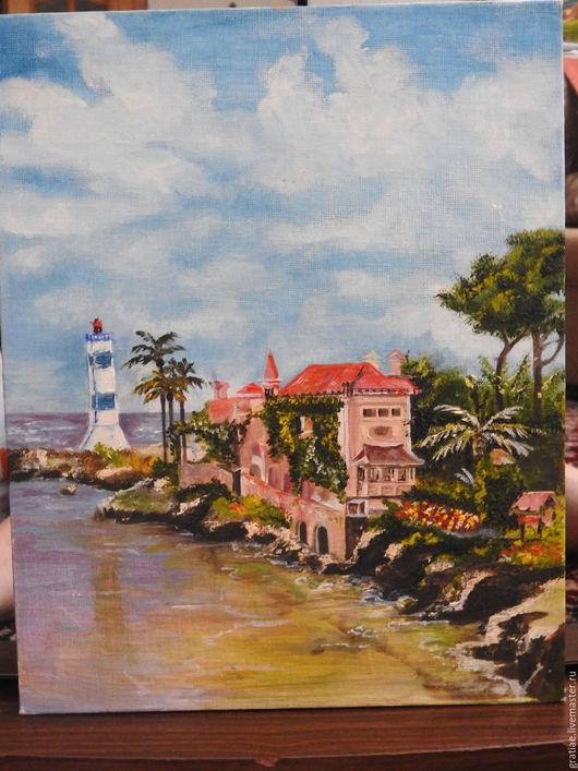Пейзаж ручной работы. Ярмарка Мастеров - ручная работа. Купить Берег Италии. Handmade. Комбинированный, италия, пальмы, маяк, голубой