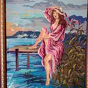 """Картины и панно ручной работы. Ярмарка Мастеров - ручная работа """"Девушка на мостике"""". Handmade."""