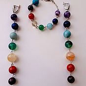 Фен-шуй и эзотерика handmade. Livemaster - original item Chakra jewelry long earrings and a bracelet. Free delivery as a gift. Handmade.