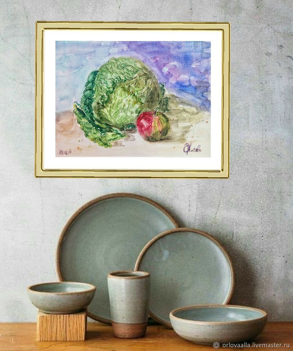 Picture With Cabbage And Apple In The Kitchen, Pictures, Moscow,  Фото №1