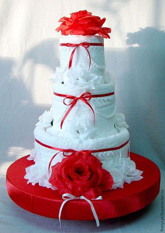 """Подарки на свадьбу ручной работы. Ярмарка Мастеров - ручная работа. Купить Торт из полотенец  """"Красное и Белое"""". Handmade. необычный подарок"""