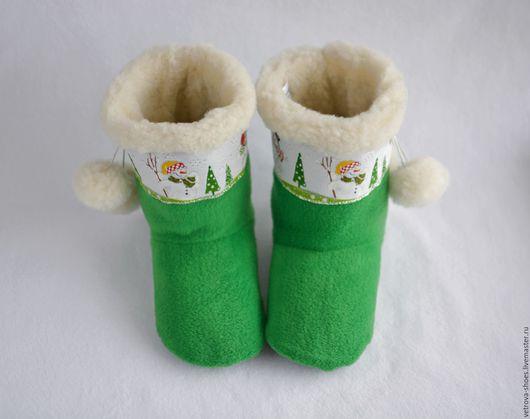 """Обувь ручной работы. Ярмарка Мастеров - ручная работа. Купить Домашние угги """"Новогодние"""". Handmade. Зеленый, Новый Год"""