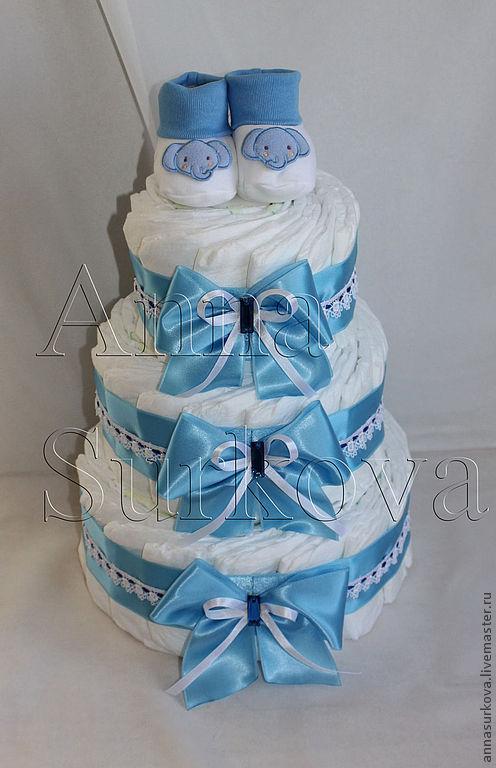 Подарки для новорожденных, ручной работы. Ярмарка Мастеров - ручная работа. Купить Торт трехъярусный с пинетками.. Handmade. Розовый, подгузники