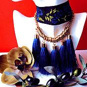 Украшения ручной работы. Ярмарка Мастеров - ручная работа Колье ошейник из ленты с вышивкой и цепью с кисаточками. Handmade.