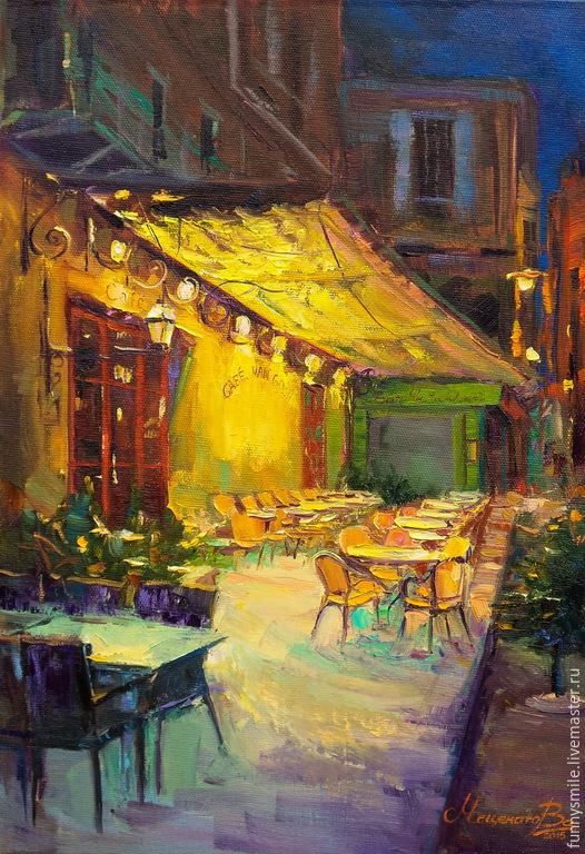 Cafe Van Gogh.  Oil painting.