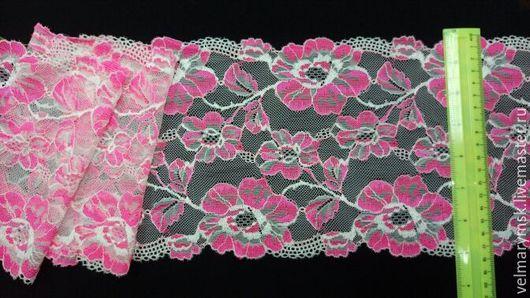 Аппликации, вставки, отделка ручной работы. Ярмарка Мастеров - ручная работа. Купить Кружево эластичное Арт. C21 белый/розовый. Handmade.