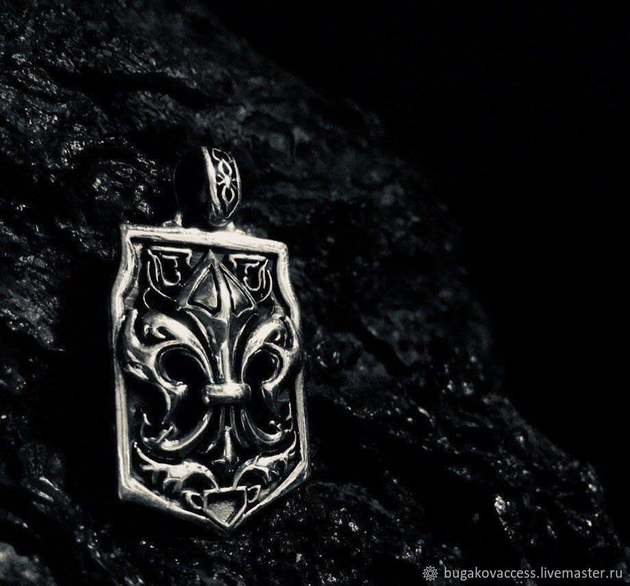 Pendant the Royal lily of silver 925 with black, Pendants, Moscow,  Фото №1