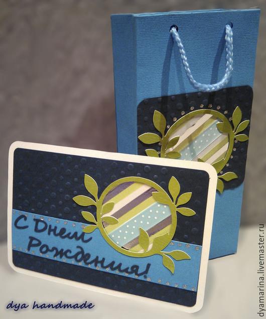 Открытки на все случаи жизни ручной работы. Ярмарка Мастеров - ручная работа. Купить Дуэт: подарочный пакет и открытка. Handmade. Синий