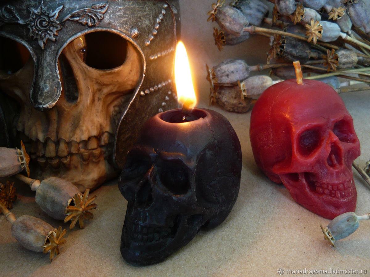 Цветная восковая свеча Череп (из пчелиного воска), Свечи, Рязань, Фото №1