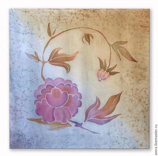 Шали, палантины ручной работы. Ярмарка Мастеров - ручная работа. Купить Японский пион. Handmade. Комбинированный, большой платок, платок, Батик