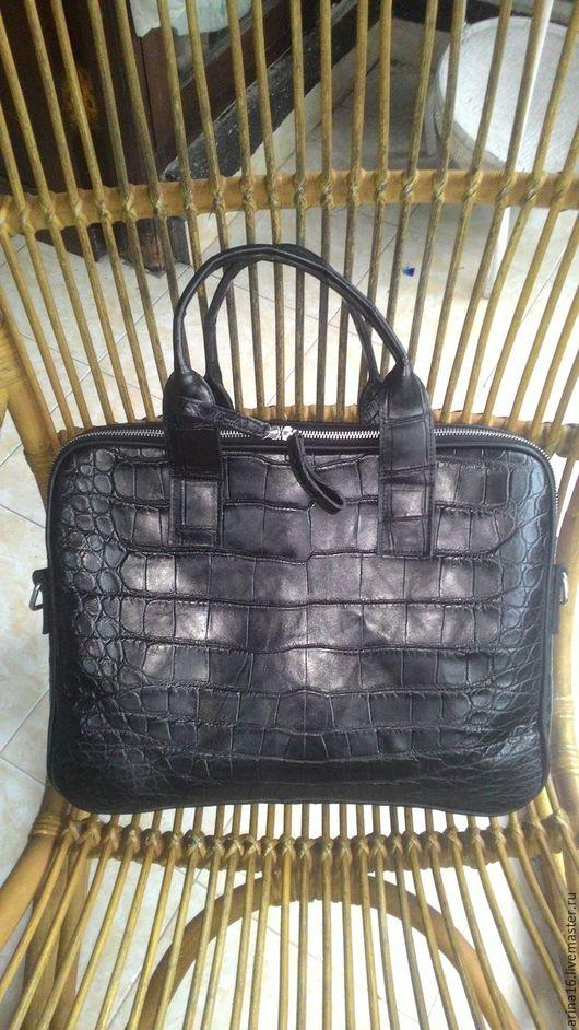 Мужские сумки ручной работы. Ярмарка Мастеров - ручная работа. Купить сумка - портфель из кожи крокодила. Handmade. Черный