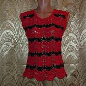 Одежда ручной работы. Ярмарка Мастеров - ручная работа Топ красно-черный. Handmade.