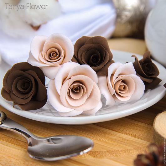 Заколки ручной работы. Ярмарка Мастеров - ручная работа. Купить Набор шпилек с шоколадными розами (6 шт). Handmade.