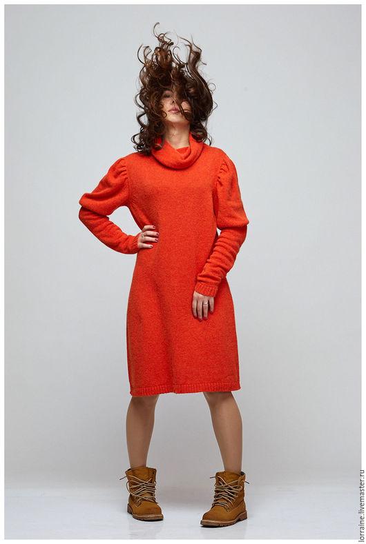 Вязаное платье, платье вязаное, трикотажное платье, платье трикотажное, платье из ангоры, ярко-красный, ретро стиль, повседневная одежда, спортивный стиль, платье с воротом, рукав-фонарик