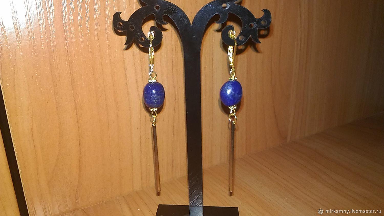 Long earrings with lapis lazuli, Earrings, Sasovo,  Фото №1