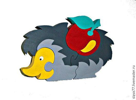 """Развивающие игрушки ручной работы. Ярмарка Мастеров - ручная работа. Купить Деревянный пазл """"Ежик с яблоком"""". Handmade. Дерево, Пазл"""