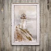 Картины и панно handmade. Livemaster - original item painting watercolor lighthouse (seascape, light grey, beige-grey). Handmade.