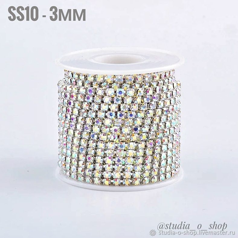 Стразовая нить SS10 - 3мм серебро, crystal AB, Шнуры, Челябинск,  Фото №1