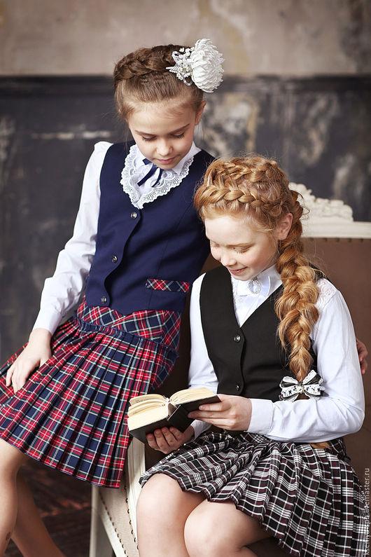 Для подростков, ручной работы. Ярмарка Мастеров - ручная работа. Купить Школьная форма для девочки - жилетка и юбка в клетку (комплект). Handmade.