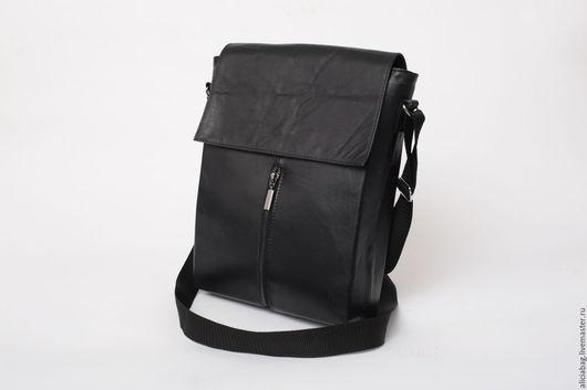 Мужские сумки ручной работы. Ярмарка Мастеров - ручная работа. Купить Натуральная кожа сумка мужская 1. Handmade. Черный