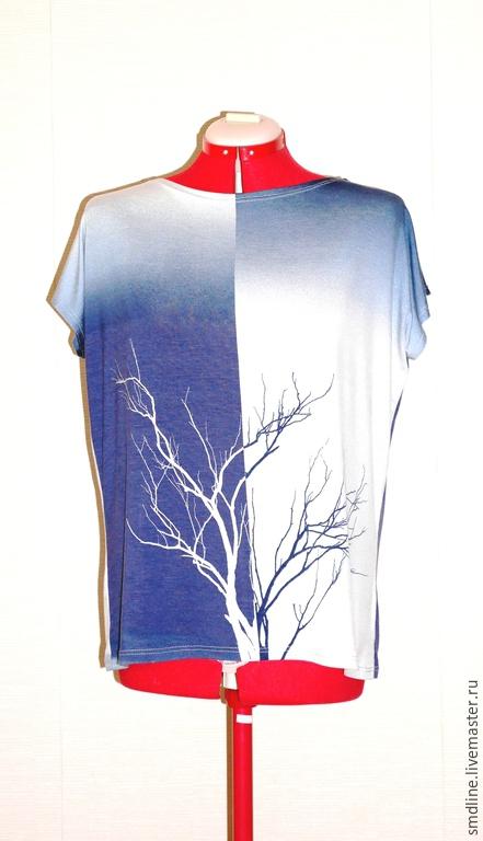 Блузки ручной работы. Ярмарка Мастеров - ручная работа. Купить Блузка из вискозы с рисунком. Handmade. Тёмно-синий