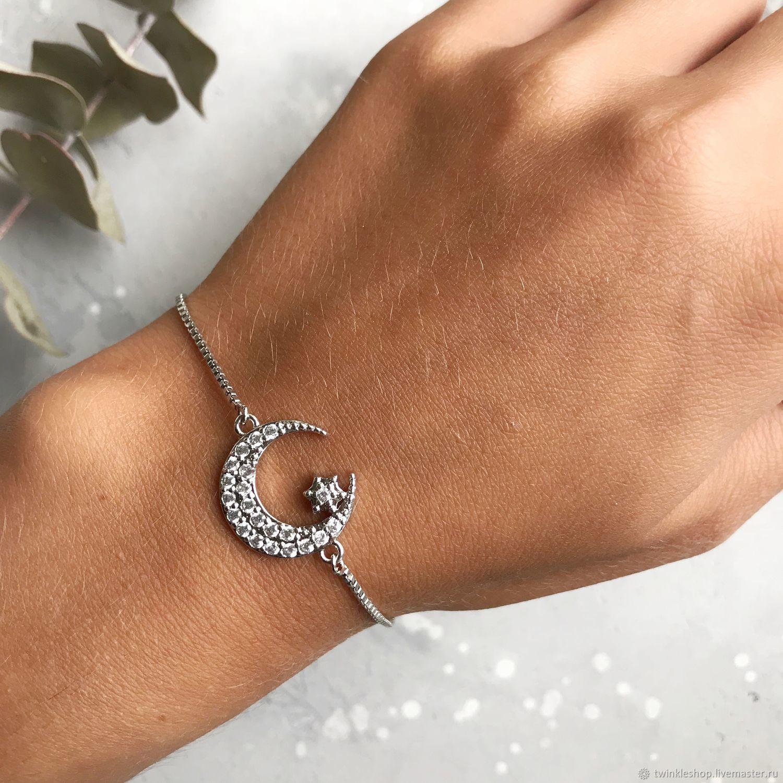 Bracelets: Crescent moon bracelet with star, Bead bracelet, Moscow,  Фото №1