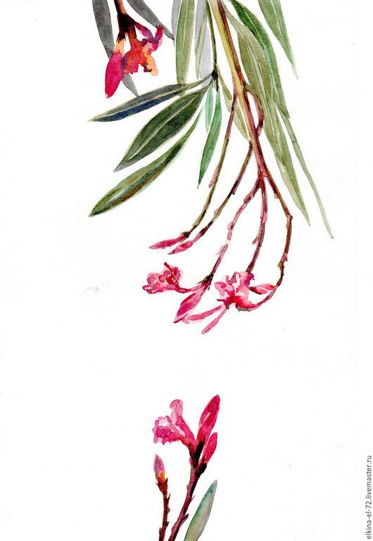 Картины цветов ручной работы. Ярмарка Мастеров - ручная работа. Купить Тропики. Handmade. Розовый, изумрудный, холодный, бумага, акварель