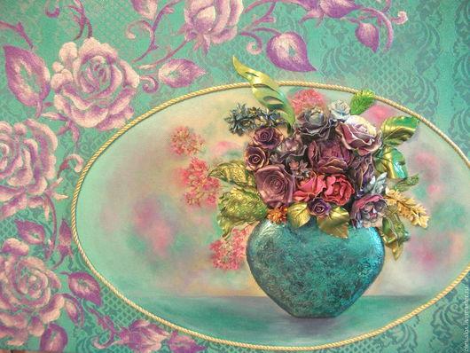 """Картины цветов ручной работы. Ярмарка Мастеров - ручная работа. Купить """"Букет в бирюзовой вазе"""". Handmade. Тёмно-бирюзовый, изящный"""