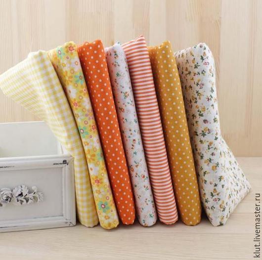 Шитье ручной работы. Ярмарка Мастеров - ручная работа. Купить Набор ткани оранжевый 7шт. 50х50см. Handmade. Ткань для творчества