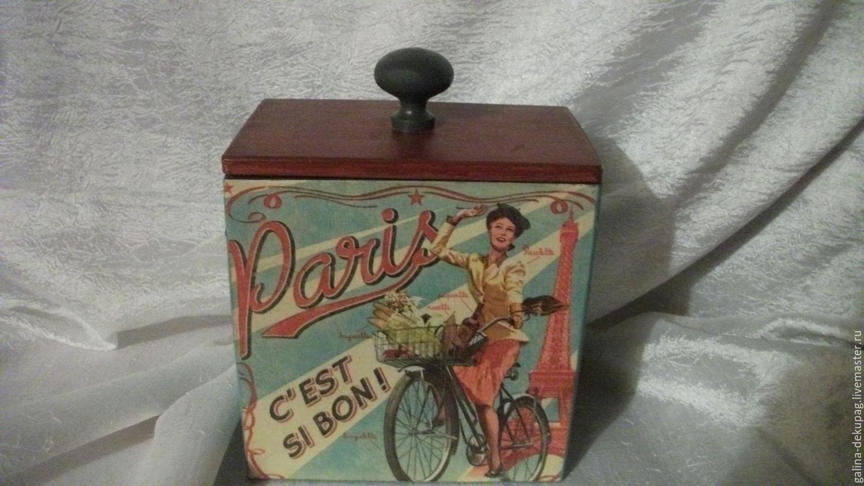 """Корзины, коробы ручной работы. Ярмарка Мастеров - ручная работа. Купить короб """" Париж"""" для кухни и ресторана (160х160х95)мм. Handmade."""