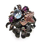 Rings handmade. Livemaster - original item Large silver ring with blue Topaz, p. .17,75, . Handmade.