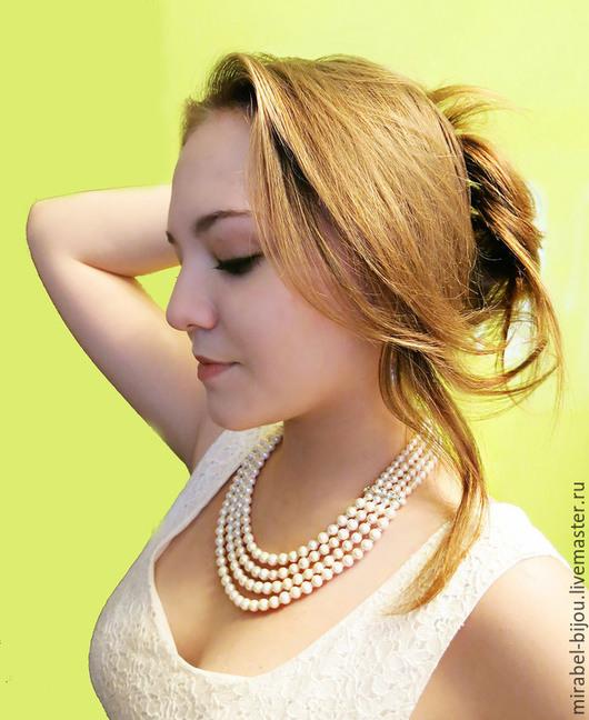 Мирабель-бижутерия. Белое жемчужное многорядное свадебное колье, ожерелье, с натуральным белым жемчугом, для невесты, фото. Купить колье в Москве. Mirabelle. Handmade. White pearl necklace for wedding